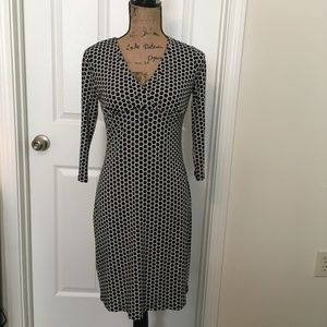 Ann Taylor V-neck Black Printed Dress